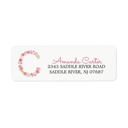 c Initial Floral Monogram Return Address Label