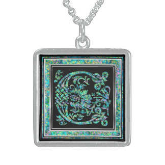 """C Initial Monogram """"Masselle Blue"""" Necklace Personalized Necklace"""