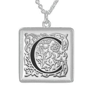 "C Initial Monogram ""Silver Besque"" Necklace Pendants"