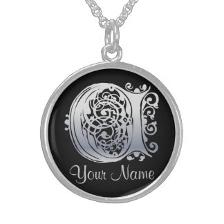 C Initial with Your Name Necklace Pendants