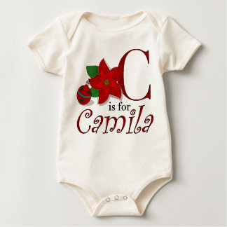 C is for Camila, Baby's First Christmas T-shirt