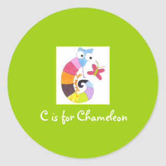 C is for Chameleon Classic Round Sticker