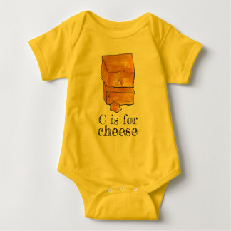 C is for Cheese Yellow Cheddar Alphabet Initial C Baby Bodysuit
