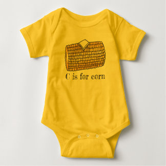 C is for Corn Yellow Corncob Cob Butter Alphabet Baby Bodysuit