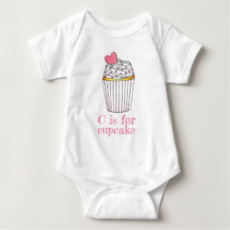 C is for Cupcake Pink Heart Cup Cake Sprinkles Baby Bodysuit