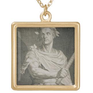 C. Julius Caesar (100-44 BC) Emperor of Rome engra Square Pendant Necklace