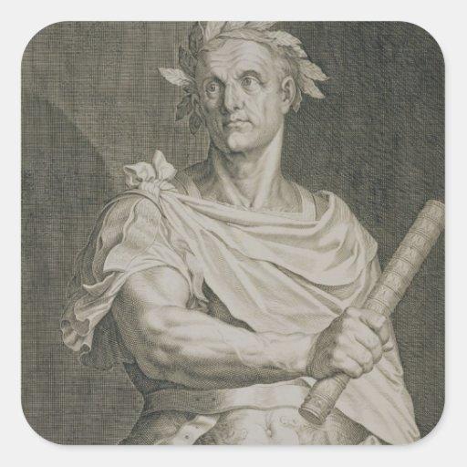 C. Julius Caesar (100-44 BC) Emperor of Rome engra Square Stickers