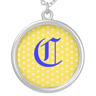 C LETTER ON HONEICOMB PERSONALIZED NECKLACE