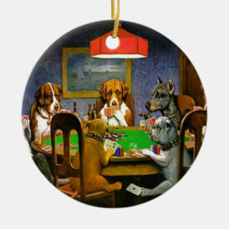 C. M. Coolidge Dogs Pets Poker Cards Humor Destiny Christmas Ornament