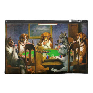 C.M. Coolidge Dogs Playing Poker Mini Bagette Travel Accessories Bags