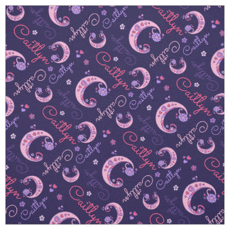 C monogram and personalized name caitlyn fabric
