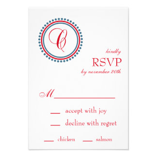 C Monogram Dot Circle RSVP Cards Red Blue