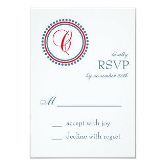 "C Monogram Dot Circle RSVP Cards (Red / Blue) 3.5"" X 5"" Invitation Card"