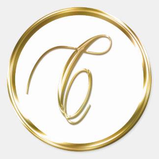 C Monogram Faux Gold Envelope Or Favor Seal Round Sticker