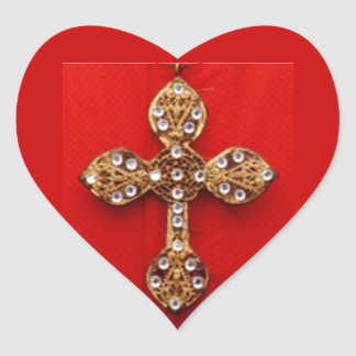 C R O S S - Cross Jewelled Bleeding Red Background Heart Sticker