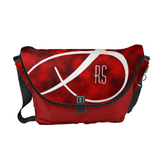 C Swirl on Red clouds Courier Bags