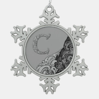 C - The Falck Alphabet (Silvery) Pewter Snowflake Decoration
