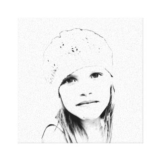 C Vector in Black and White Stretched Canvas Print