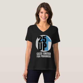 CA25UP Lg White Logo Relaxed-Fit V-Neck Tee