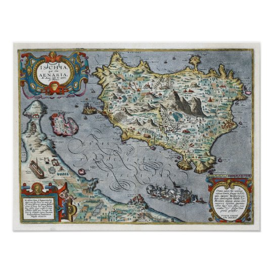 ca 1610 Ischia Map Poster
