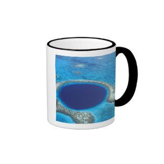 CA, Belize. Aerial view of Blue Hole (diameter Coffee Mugs