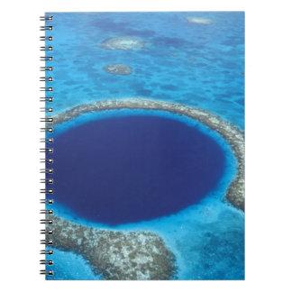 CA, Belize. Aerial view of Blue Hole (diameter Notebooks