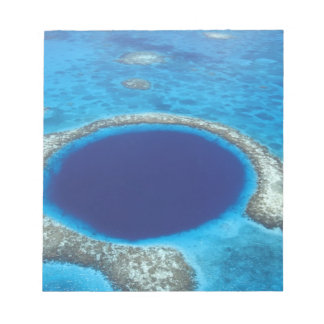 CA, Belize. Aerial view of Blue Hole (diameter Notepad