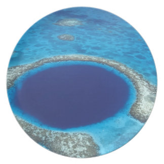 CA, Belize. Aerial view of Blue Hole (diameter Plate