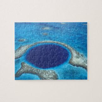 CA, Belize. Aerial view of Blue Hole (diameter Puzzles