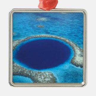 CA, Belize. Aerial view of Blue Hole (diameter Silver-Colored Square Decoration