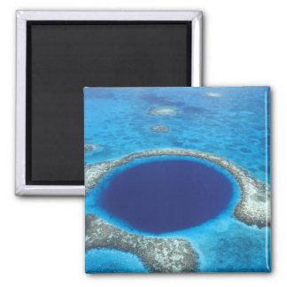 CA, Belize. Aerial view of Blue Hole (diameter Square Magnet