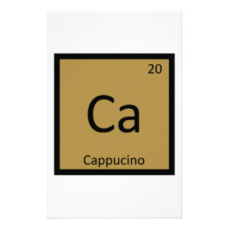 Ca - Cappucino Coffee Chemistry Periodic Table Custom Stationery