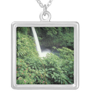 CA, Costa Rica. La Paz waterfall and impatients Silver Plated Necklace