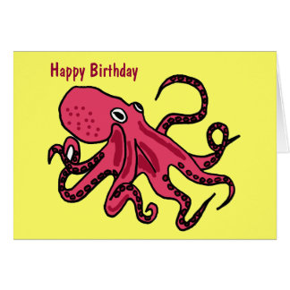 CA- Octopus Birthday Cartoon Birthday Card