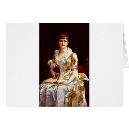 Cabanel Alexandre Portrait Of Young Lady Greeting Card