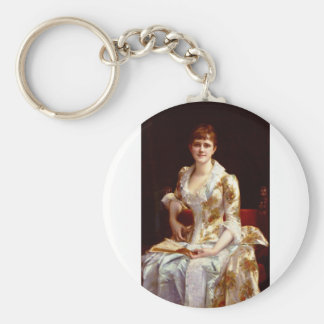 Cabanel Alexandre Portrait Of Young Lady Basic Round Button Key Ring