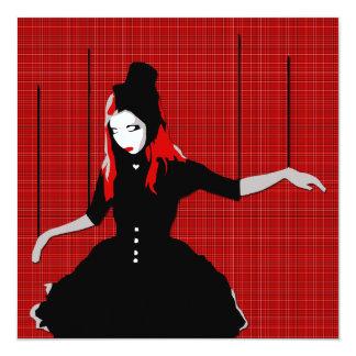 cabaret marionette 13 cm x 13 cm square invitation card