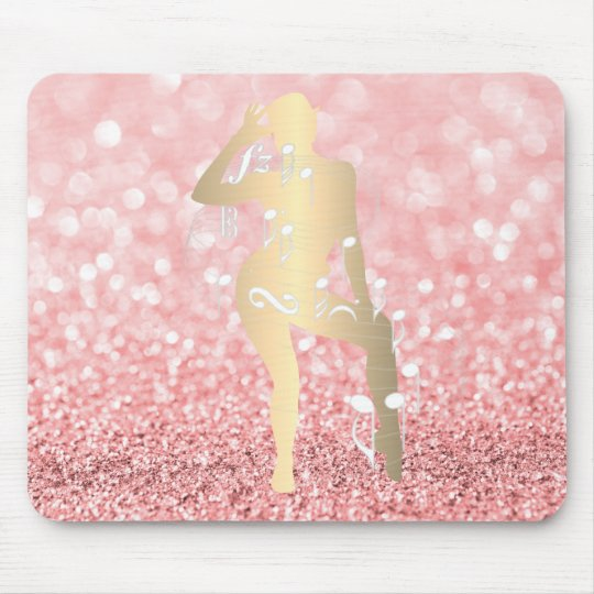 Cabaret Musical Dance Girl Glitter Pink Rose Gold