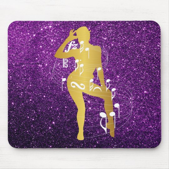 Cabaret Musical Dance Girl Glitter Purple Gold Mouse