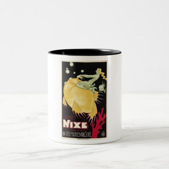 Cabaret Nixe, Mermaid, Germany, Vintage Two-Tone Coffee Mug