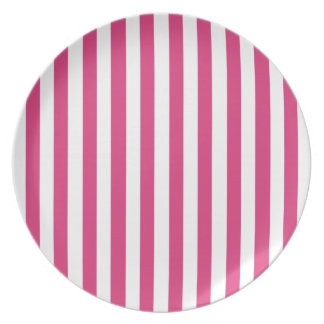 Cabaret Red Fuchsia And Vertical White Stripes Party Plate
