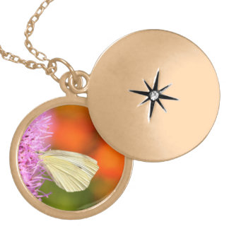 cabbage butterfly with orange background pendant
