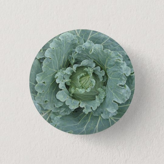 Cabbage from above , Green Leaves 3 Cm Round Badge