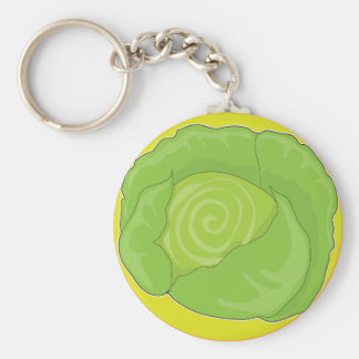 Cabbage Graphic Basic Round Button Key Ring
