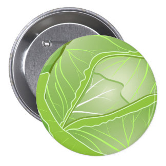 Cabbage Large, 3 Inch Round Button