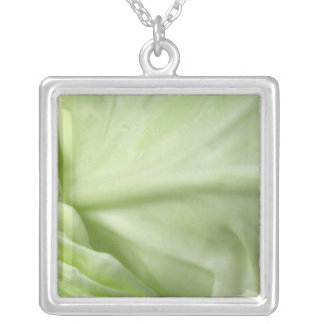 Cabbage Large Silver Plated Square Necklace
