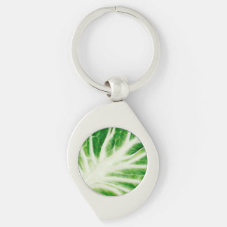 Cabbage leaf Silver-Colored swirl metal keychain