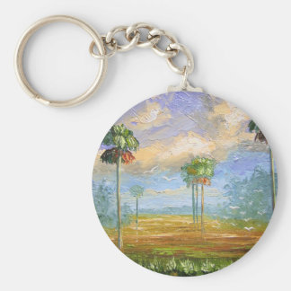 Cabbage Palms in Florida Basic Round Button Key Ring
