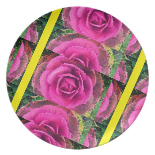 Cabbage Rose and Chartreusse Plate
