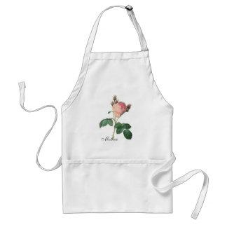 Cabbage Rose Botanical Print Custom Name Adult Apron